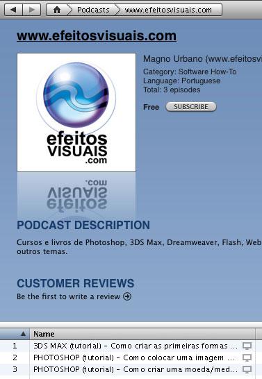 Efeitos Visuais no iPod e na iTunes da Apple
